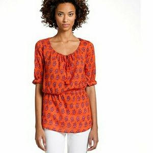 Tory Burch - Orange Floral Elastic Waist Tunic - 8